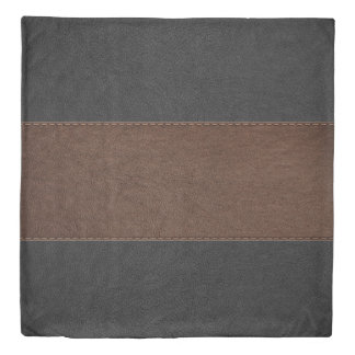 Black & Brown Stitched Leather Design Duvet Cover