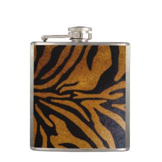 Black & Brown Tiger Pattern Design Hip Flask