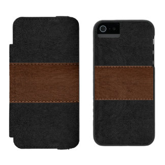 Black & Brown Vintage Leather Texture Incipio Watson™ iPhone 5 Wallet Case