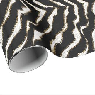 Black Brown & White Zebra Print Gift Wrap
