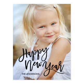 Black Brush Script Overlay Happy New Year Photo Postcard