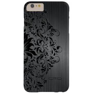 Black Brushed Aluminum & Floral Lace Barely There iPhone 6 Plus Case
