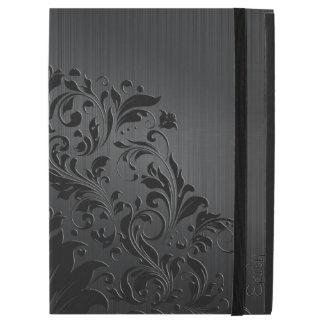 "Black Brushed Aluminum & Floral Lace iPad Pro 12.9"" Case"