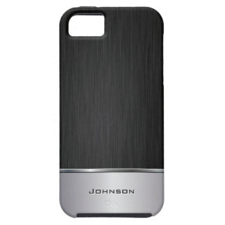 Black Brushed Metal Look with Silver Bar   iPhone 5 Cover