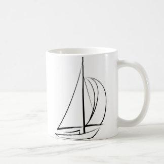 Black Brushstroke Sailboat Classic White Coffee Mug