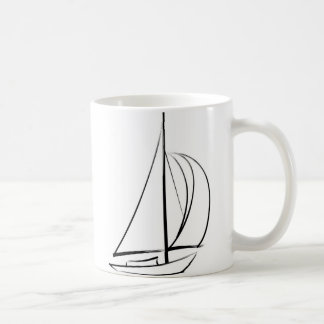 Black Brushstroke Sailboat Coffee Mug