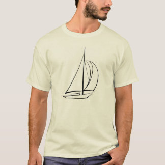 Black Brushstroke Sailboat T-Shirt