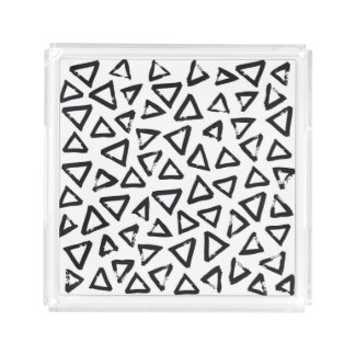 Black Brushstroke Triangel Pattern, Nordic Design Acrylic Tray