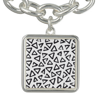 Black Brushstroke Triangel Pattern, Nordic Design Bracelet