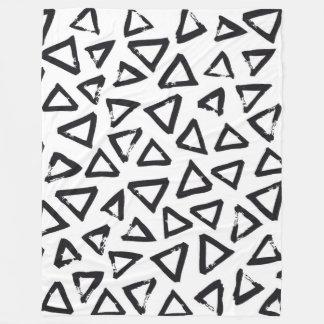 Black Brushstroke Triangel Pattern, Nordic Design Fleece Blanket