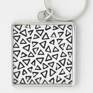 Black Brushstroke Triangel Pattern, Nordic Design Keychain
