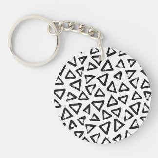 Black Brushstroke Triangel Pattern, Nordic Design Keychain