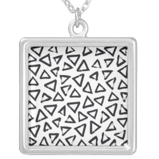 Black Brushstroke Triangel Pattern, Nordic Design Silver Plated Necklace