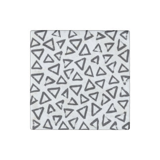 Black Brushstroke Triangel Pattern, Nordic Design Stone Magnets