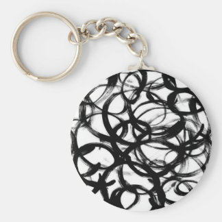 Black Brushstroke Watercolor Circles Basic Round Button Keychain