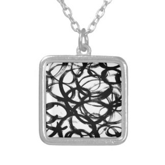 Black Brushstroke Watercolor Circles Silver Plated Necklace