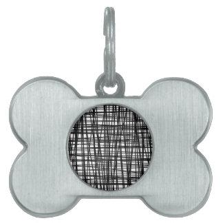 Black Brushstroke Watercolor Stripes Pet Tags