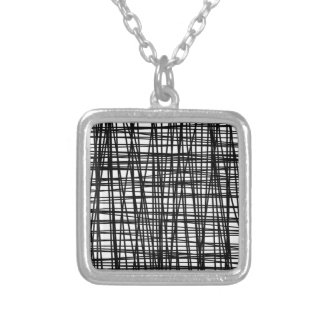 Black Brushstroke Watercolor Stripes Silver Plated Necklace