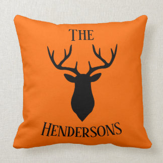 Black Buck Head On Hunter Orange Throw Pillow