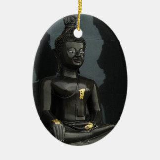 Black Buddha ... Nong Khai, Isaan, Thailand Ceramic Oval Ornament