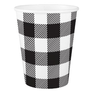 Black Buffalo Plaid Party Cups