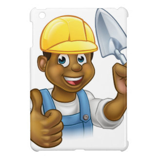 Black Builder Bricklayer Worker With Trowel Tool iPad Mini Cover