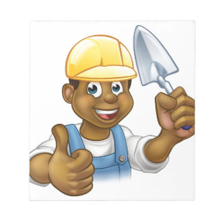 Black Builder Bricklayer Worker With Trowel Tool Notepad