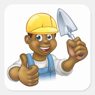 Black Builder Bricklayer Worker With Trowel Tool Square Sticker
