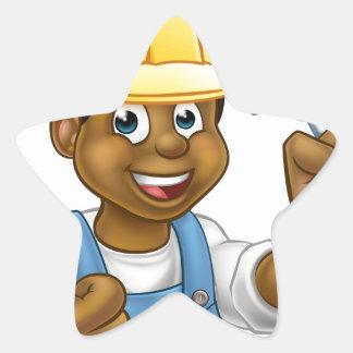 Black Builder Bricklayer Worker With Trowel Tool Star Sticker