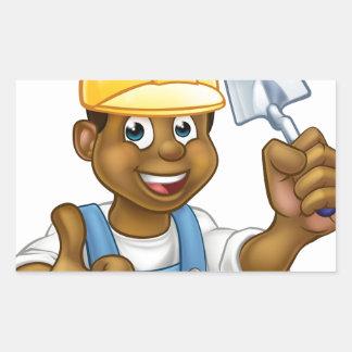 Black Builder Bricklayer Worker With Trowel Tool Sticker