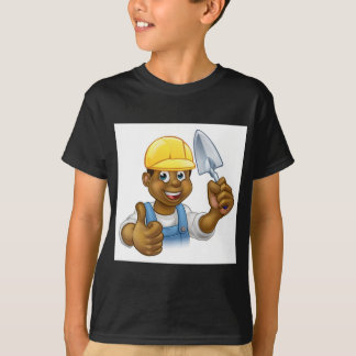 Black Builder Bricklayer Worker With Trowel Tool T-Shirt