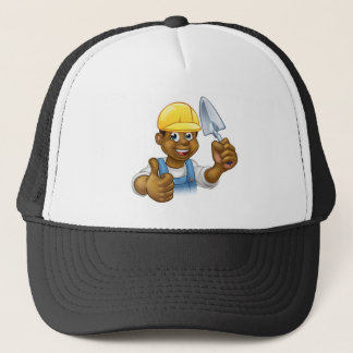 Black Builder Bricklayer Worker With Trowel Tool Trucker Hat