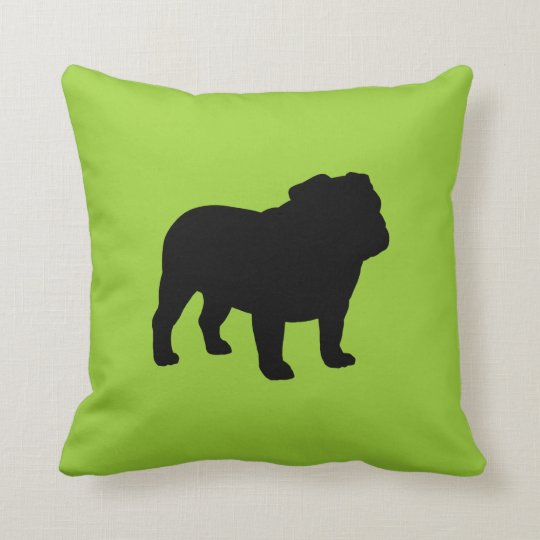 Black Bulldog Silhouette on Green (Customizable) Throw Pillow