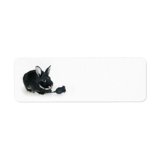Black Bunny rose Return Address Label