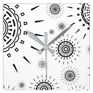 Black Burst Patterns on White Square Wall Clock