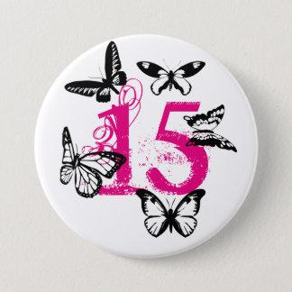 Black butterflies on pink '15' button. 3 inch round button
