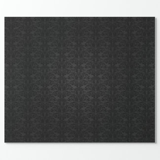 Black Butterfly Damask Wrapping Paper