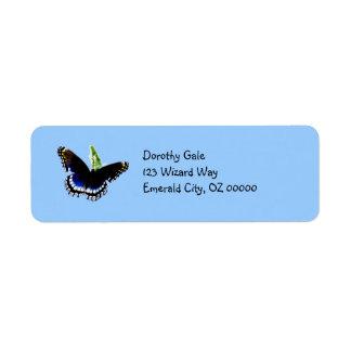 Black Butterfly Custom Return Address Labels