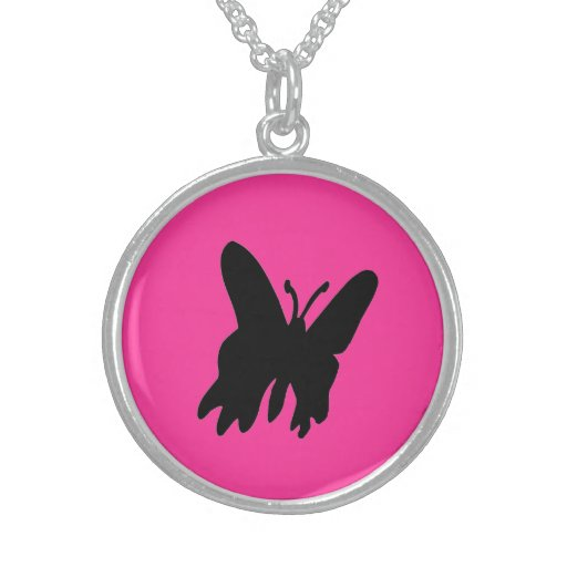 Black Butterfly on pink Necklace