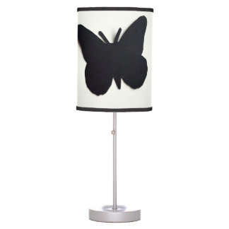 BLACK BUTTERFLY ON WHITE WITH BLACK TRIM LAMP