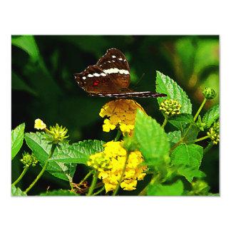 "Black Butterfly on Yellow Lantana 4.25"" X 5.5"" Invitation Card"