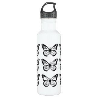 Black Butterfly Stencils 710 Ml Water Bottle