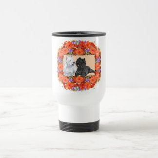 Black Cairn and Westie Terriers in Floral Travel Mug