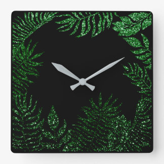 Black Cali Deep Green Palm Tree Botanical Glitter Square Wall Clock
