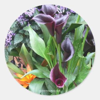 Black Calla Lilies Round Sticker