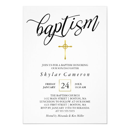 Black Calligraphy Gold Cross Baptism Card