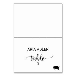 Black Calligraphy Pork Meal Option Place Card