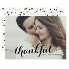 Black Calligraphy Script Photo Wedding Thank You Card