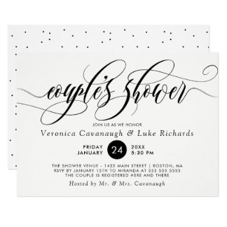 Black Calligraphy Swirls Couple's Shower Card