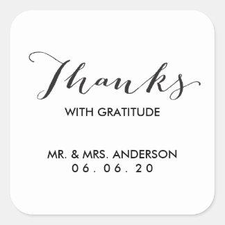 Black Calligraphy | Wedding Thank You Sticker